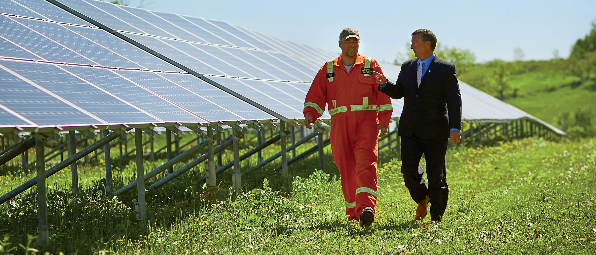 Jason Cameron, BMO Indigenous Banking, visiting Alderville First Nation's solar farm.
