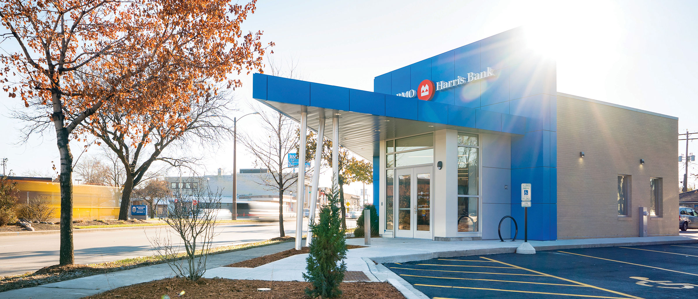 BMO Harris Bank's Sherman Park branch has an award-winning design, and is the first Wisconsin location to feature BMO's Smart Branch concept.