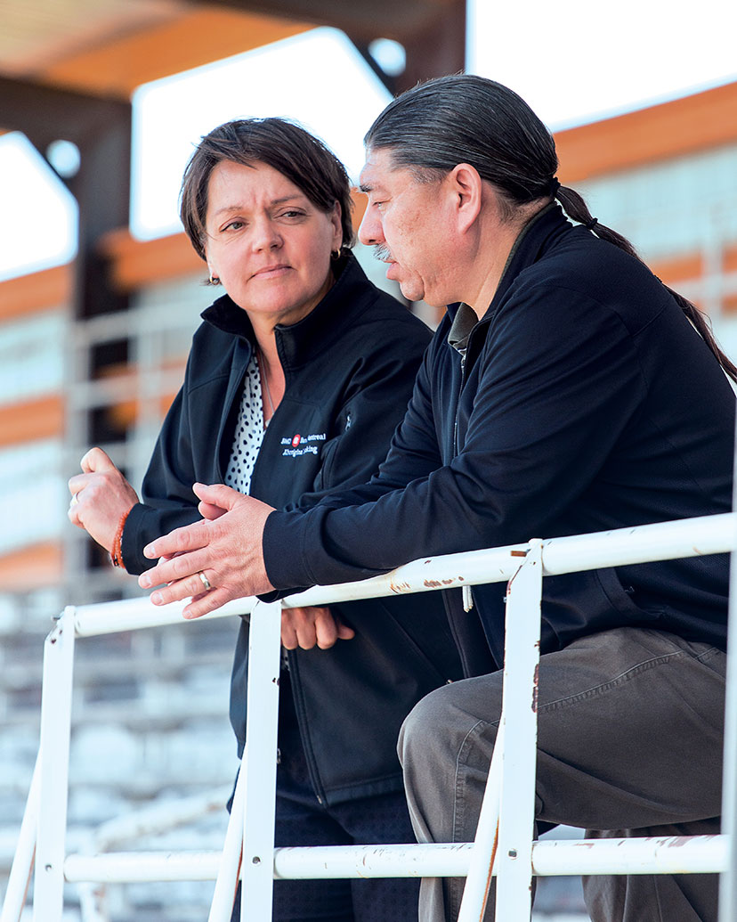 Lisa Brodtrick, BMO, with Chief Stanley Grier of the Piikani Nation.