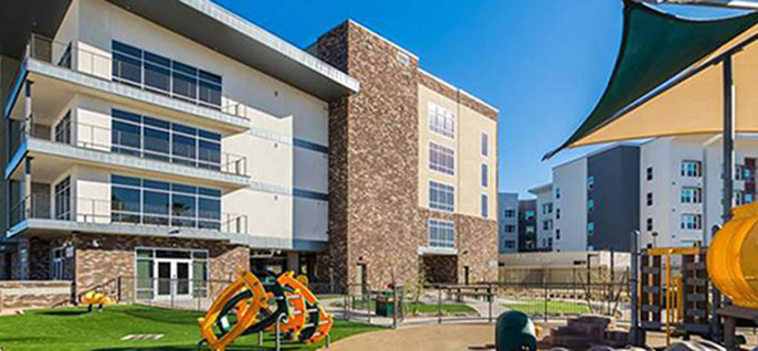 Facade of housing building