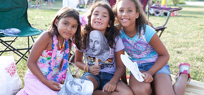 Young girls enjoying a community event in Chicago.