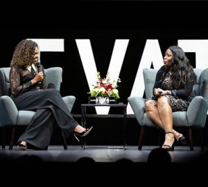 Claudette McGowan interviewing Michelle Obama at the Elevate Conference in Toronto.