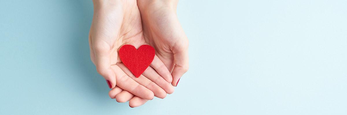 A pair of hands holding a red felt heart