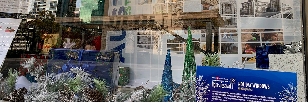 Holiday window display for Magnificent Mile Lights Festival