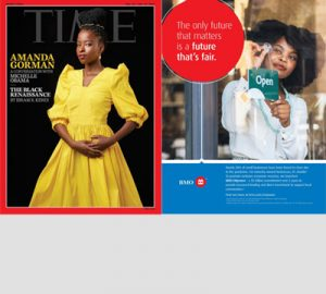 The cover of the Time magazine's Black Renaissance issue featuring poet Amanda Gorman and the BMO EMpower ad that was featured within the issue.