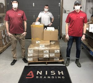 Anish Branding employees with PPE