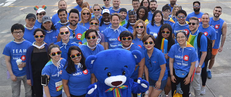 Employees wiith BMO the Bear mascot