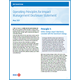 2021 Operating Principles for Impact Management Disclosure Statement
