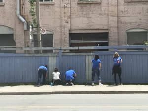 Volunteers painting a fence at BMO Volunteer Day 2019